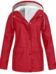cheap -Women's Hoodie Jacket Rain Jacket Hooded Outdoor Thermal Warm Waterproof Windproof Breathable Autumn / Fall Winter Jacket Fleece Camping / Hiking Hunting ArmyGreen Blue Purple