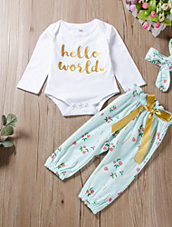 cheap -Baby Girls' Basic Print Long Sleeve Regular Clothing Set White
