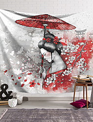 cheap -Japanese Style Ink Painting Style Wall Tapestry Art Decor Blanket Curtain Hanging Home Bedroom Living Room Decoration Polyester