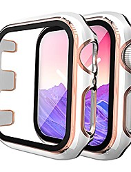 cheap -Smart watch Case 2 pack hard case compatible for apple watch series 3/2/1 38mm built in 9h tempered glass screen protector, touch sensitive protective slim cover compatible for iwatch 38mm