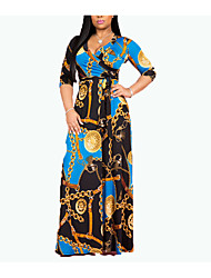 cheap -Women's Swing Dress Maxi long Dress Golden Red bottom chain Rose Red Long Sleeve Pattern Spring Summer Casual / Daily 2021 S M L XL XXL XXXL