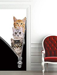"""cheap -2pcs Self-adhesive Creative 3 Kittens Door Stickers For Living Room Diy Decorative Home Waterproof Wall Stickers 30.3""""x78.7""""(77x200cm), 2 PCS Set"""