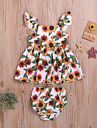 cheap -Baby Girls' Active Sun Flower Floral Print Sleeveless Regular Regular Clothing Set White