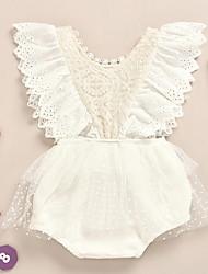 cheap -Baby Girls' Basic Polka Dot Lace Sleeveless Romper White