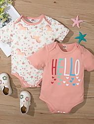 cheap -Baby Girls' Basic Horse Letter Animal Print Short Sleeves Romper White Blushing Pink