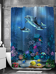 cheap -Shower Curtain With Hooks Suitable For Separate Wet And Dry Zone Divide Bathroom Shower Curtain Waterproof Oil-proof Modern and Animal