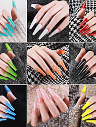 cheap -24pcs Professional Fake Nails Removable Long Ballerina Half French Acrylic Nail Tips Press On Nails Full Cover Manicure Beauty Tools