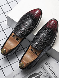 cheap -Men's Loafers & Slip-Ons Moccasin Leatherette Loafers Bullock Shoes Casual Daily Walking Shoes PU Breathable Non-slipping Wear Proof Black Red Spring