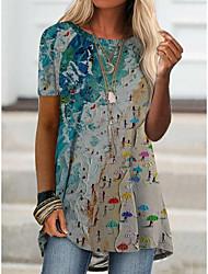 preiswerte -Damen T-Shirt Kleid Grafik Druck Rundhalsausschnitt Grundlegend Oberteile Blau