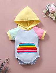 cheap -Baby Girls' Basic Print Print Short Sleeves Romper Gray