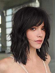 cheap -black bob wig with bangs natural looking 14 inch short wavy synthetic wig heat resistant black wigs for women