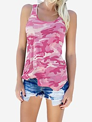 cheap -Women's Tank Top Vest T shirt Camouflage Print U Neck Tops Blue Purple Blushing Pink