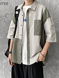 cheap -men's casual shirts men summer patchwork all-match korean fashion streetwear chic loose vintage students clothing harajuku simple ins