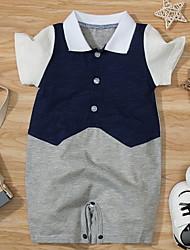 cheap -Baby Boys' Basic Color Block Print Short Sleeves Romper Navy Blue