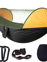 cheap -Camping Hammock with Mosquito Net Hammock Rain Fly Outdoor Portable Anti-Mosquito Ultra Light (UL) Breathable Parachute Nylon with Carabiners and Tree Straps for 2 person Camping / Hiking Hunting