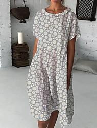cheap -Women's A Line Dress Midi Dress Grey sun flower Blue Blushing Pink Green Short Sleeve Pattern Summer Casual 2021 S M L XL XXL XXXL