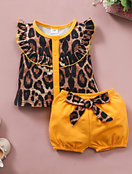 cheap -Baby Girls' Basic Leopard Short Sleeve Regular Clothing Set Yellow