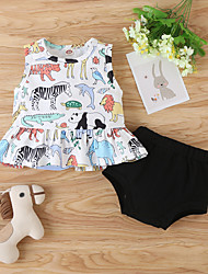 cheap -Baby Girls' Casual Print Sleeveless Short Clothing Set White