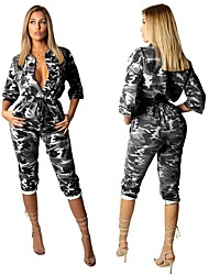 cheap -Women's Casual 2021 Army green camouflage White camouflage Air force camouflage Jumpsuit Pattern