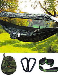 cheap -Camping Hammock with Pop Up Mosquito Net Hammock Rain Fly Double Hammock Outdoor Sunscreen Anti-Mosquito Ultraviolet Resistant Quick Dry Lightweight Parachute Nylon with Carabiners and Tree Straps for