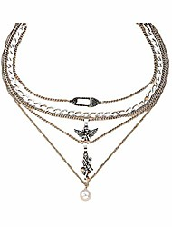 cheap -angle pearl pendant necklace y2k punk vintage devil pin multi-layer chain choker neckalce for women girls