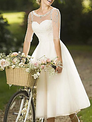 cheap -A-Line Wedding Dresses Jewel Neck Knee Length Lace Tulle Half Sleeve Vintage 1950s with Crystals 2021