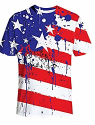 cheap -men unisex summer t-shirt tee American flag graphic casual printed 4th of july loose round neck tops white