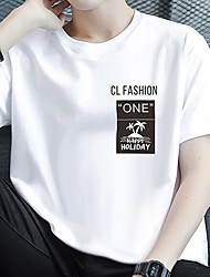 cheap -Men's Unisex Tee T shirt Hot Stamping Graphic Prints Coconut Tree Letter Plus Size Print Short Sleeve Casual Tops Cotton Basic Fashion Designer Big and Tall White Black Light gray