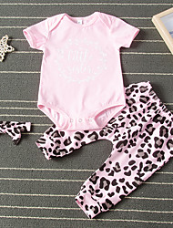 cheap -Baby Girls' Active Leopard Print Short Sleeve Regular Regular Clothing Set Blushing Pink