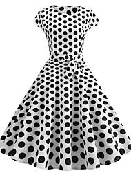 cheap -Audrey Hepburn Polka Dots 1950s Vintage Vacation Dress Dress Rockabilly Prom Dress Women's Costume Blue / White / Black Vintage Cosplay Homecoming Prom Short Sleeve Knee Length
