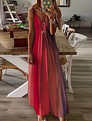 cheap -Women's Strap Dress Maxi long Dress Yellow Orange Red Sleeveless Color Block Summer V Neck Sexy 2021 S M L XL XXL 3XL 4XL 5XL