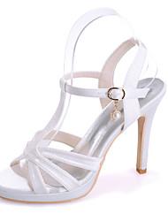 cheap -Women's Wedding Shoes Stiletto Heel Open Toe Satin Imitation Pearl Solid Colored White Purple Black
