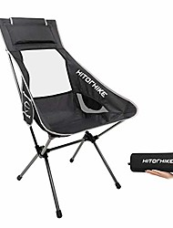 cheap -hitorhike camping chair with nylon mesh and comfortable headrest ultralight high back folding camp chair portable compact for camping, hiking, backpacking, picnic, festival, family road trip (black)