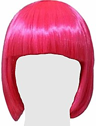 cheap -halloweencostumes aglow neon hot pink flashy party short bob wig with bangs, synthetic fibers, vibrant color for women and men for group costumes, entertainment, parties and dress-up
