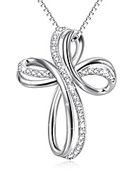 """cheap -sterling silver infinity loops knot cross pendant necklace 18"""" box chain"""