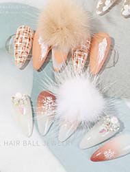 cheap -6 pcs Nail Hair Ball Ornaments Magnet Removable Hair Ball Cute All-match Girl Heart Nail Ornaments
