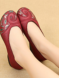 cheap -Women's Flats Flat Heel Round Toe Cotton Solid Colored Black Red Pink