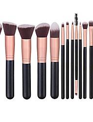 cheap -makeup brushes 14 pcs makeup brush set travel makeup brush set with 4 makeup sponge blender 2 makeup foundation sponge air cushion powder puff 1 silicone brush cleaner & #40;rose gold& #41;