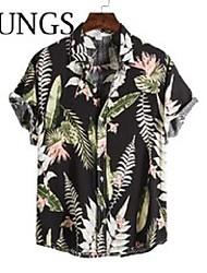 cheap -men's casual shirts men summer beach 3d print funny v-neck short sleeve latest hip hop clothing quality 100% cotton