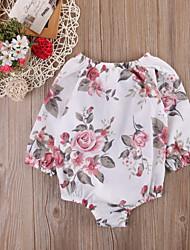 cheap -Baby Girls' Basic Floral Print Long Sleeve Romper White
