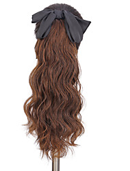 cheap -foreign trade hair extension female red black bowknot hairpin bandage type long hair water ripple wig ponytail natural hair extension