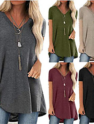cheap -womens tops and blouses summer comfy casual short sleeved v neck tunics loose flattering long t-shirt plus size red