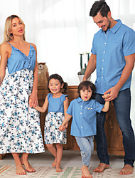 cheap -Family Floral Print Ruffle Decor Sling Dresses - Denim Tops - Rompers Matching Sets