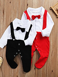 cheap -Baby Boys' Basic Color Block Patchwork Long Sleeve Romper Red Black