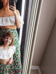 cheap -Mommy and Me White Ruffle Off-shoulder Top Pineapple Print Skirt Sets