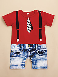 cheap -Baby Boys' Active Color Block Print Short Sleeves Romper Red