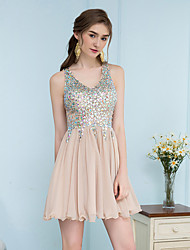 cheap -A-Line Flirty Sparkle Homecoming Cocktail Party Dress Scoop Neck Sleeveless Short / Mini Chiffon with Sequin 2021