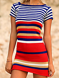 cheap -european and american new black and white striped knit sweater beach blouse seaside holiday skirt bikini swimsuit with sun protection clothing women