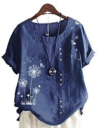 cheap -Women's Plus Size Tops T shirt Floral Graphic Large Size Round Neck Short Sleeve Casual Big Size L XL 2XL 3XL 4XL