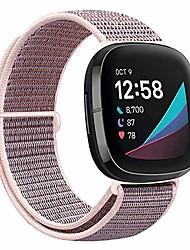 cheap -smartwatch band nylon straps compatible with fitbit versa 3 / fitbit sense, soft breathable smartwatch band sport adjustable replacement strap women men bracelet accessories (pink sand)